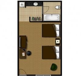 2 Queen Standard - Room Plan